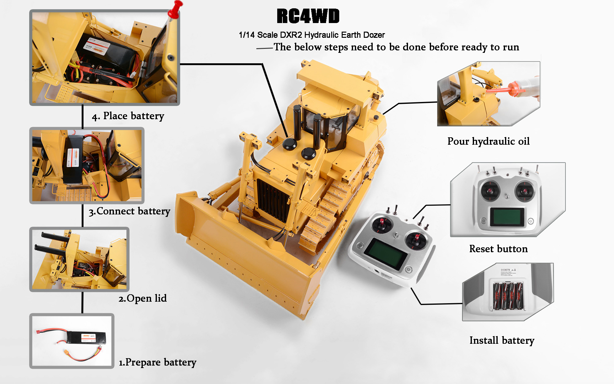 1/14 Scale DXR2 Hydraulic Earth Dozer